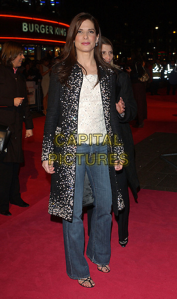 "SANDRA BULLOCK.UK Premiere of ""Miss Congeniality 2"" at Vue Cinema, London..March 9th, 2005.full length jeans denim black sequin jacket coat.www.capitalpictures.com.sales@capitalpictures.com.© Capital Pictures."