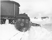 Shavano leaving water tank.<br /> D&amp;RGW  Marshall Pass ?, CO  Taken by Smith, Richard K. - 1/1949