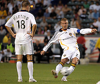 Los Angeles Galaxy midfielder (23) David Beckham takes a free kick during the first half against D.C. United at the Home Depot Center in Carson, CA on Wednesday, August 15, 2007. Beckham would score on the free kick and the Los Angeles Galaxy defeated D. C. United 2-0 in a SuperLiga semifinal match..
