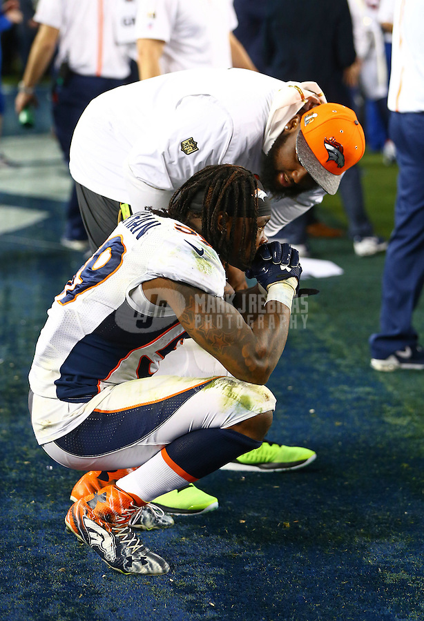 Feb 7, 2016; Santa Clara, CA, USA; Denver Broncos linebacker Danny Trevathan (59) reacts on the sidelines in the closing minutes of the fourth quarter against the Carolina Panthers in Super Bowl 50 at Levi's Stadium. Mandatory Credit: Mark J. Rebilas-USA TODAY Sports