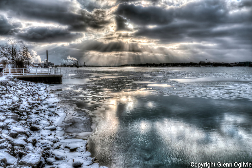 St. Clair River in the winter, ice. Vapours from Chemical Valley industry and Sarnia Bay