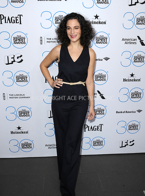 WWW.ACEPIXS.COM<br /> <br /> January 10 2015, LA<br /> <br /> Jenny Slate attending the 2015 Film Independent Filmmaker Grant and Spirit Awards nominee brunch at the BOA Steakhouse on January 10, 2015 in West Hollywood, California.<br /> <br /> By Line: Peter West/ACE Pictures<br /> <br /> <br /> ACE Pictures, Inc.<br /> tel: 646 769 0430<br /> Email: info@acepixs.com<br /> www.acepixs.com