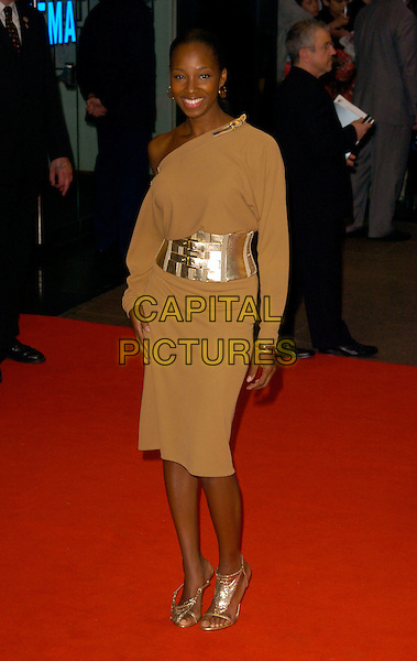 "JAMELIA.The UK premiere of ""Spider-Man 3"", Odeon Leicester Square cinema, London, UK. .April 23rd, 2007 .spiderman spider man full length brown beige dress off the shoulder gold silver shoes belt wide.CAP/CAN.©Can Nguyen/Capital Pictures"