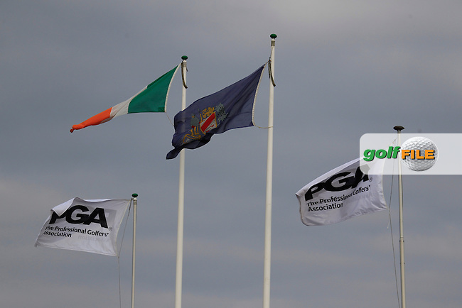 PGA Flags fly high during the final round of the Irish PGA Championship, Dundalk Golf Club, Dundalk Co Louth. 04/10/2015<br /> Picture Golffile | Fran Caffrey | PGA<br /> <br /> <br /> All photo usage must carry mandatory copyright credit (&copy; Golffile | Fran Caffrey | PGA)