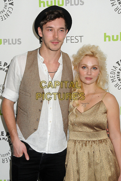 "Sam Palladio, Clare Bowen.30th Annual Paley Fest - ""Nashville"" held at the Saban Theatre, Beverly Hills, California, USA, 9th March 2013..half length jeans hand in pocket boots  black hat white shirt waistcoat brown necklace facial hair moustache mustache gold dress.CAP/ADM/BP.©Byron Purvis/AdMedia/Capital Pictures."