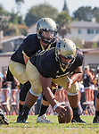 Palos Verdes, CA 09/16/16 - Aidan Kuykendall (Peninsula #7) and Gabor Nemeth (Peninsula #72) in action during the Torrance - Palos Verdes Peninsula CIF Varsity football game.