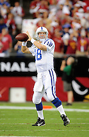 Sept. 27, 2009; Glendale, AZ, USA; Indianapolis Colts quarterback (18) Peyton Manning against the Arizona Cardinals at University of Phoenix Stadium. Indianapolis defeated Arizona 31-10. Mandatory Credit: Mark J. Rebilas-