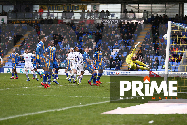 Jason McCarthy of Wycombe Wanderers scores his sides first goal during the Sky Bet League 1 match between Shrewsbury Town and Wycombe Wanderers at Greenhous Meadow, Shrewsbury, England on 16 March 2019. Photo by Leila Coker / PRiME Media Images.