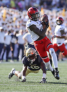 Annapolis, MD - September 23, 2017: Cincinnati Bearcats wide receiver JJ Pinckney (14) catches a pass during the game between Cincinnati and Navy at  Navy-Marine Corps Memorial Stadium in Annapolis, MD.   (Photo by Elliott Brown/Media Images International)