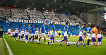 25.10.18 Rangers v Spartak Moscow: Rangers take to the field with a giant display in the stands