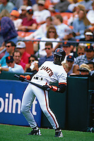 """SAN FRANCISCO, CA - Actor Wesley Snipes wears a San Francisco Giants uniform as Bobby Raybrun as he films a scene for the motion picture """"The Fan"""" before a game at Candlestick Park in San Francisco, California in 1994. (Photo by Brad Mangin)"""