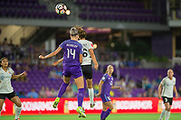 Orlando, FL - Saturday August 12, 2017: Alanna Kennedy, Sarah Killion during a regular season National Women's Soccer League (NWSL) match between the Orlando Pride and Sky Blue FC at Orlando City Stadium.