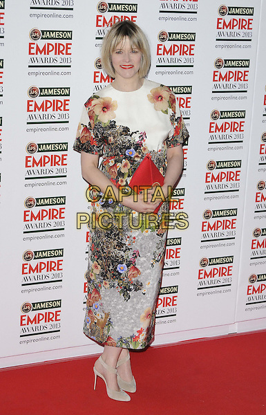 Edith Bowman.The 18th Jameson Empire Film Awards at Grosvenor House, London, England..March 24th, 2013.full length red white green floral print dress  clutch bag .CAP/CAN.©Can Nguyen/Capital Pictures.