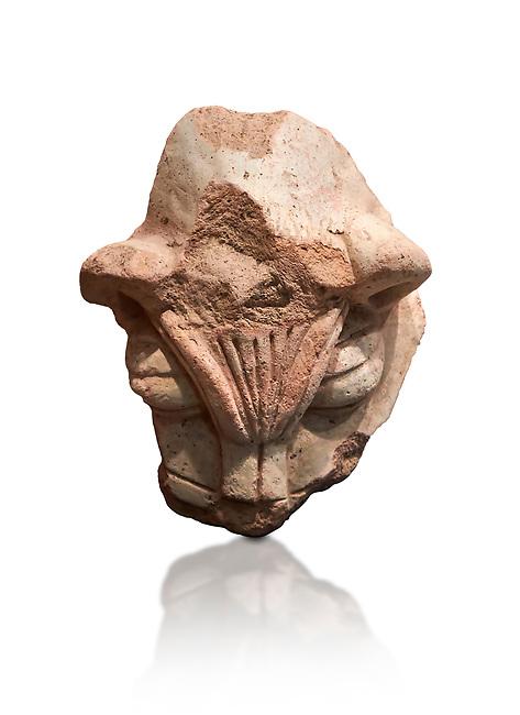 Hittite terra cotta head of a lion. Hittite Period 1650 - 1450 BC, Ortakoy Sapinuva . Çorum Archaeological Museum, Corum, Turkey. Against a white bacground.