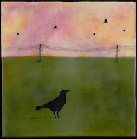 Mixed media encaustic painting with photography of bird in green field with telephone poles