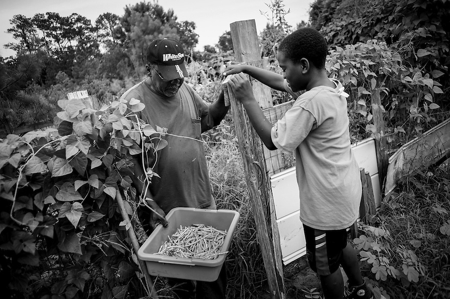 Frank Bailey with a tray full of freshly picked beans from his garden in the Hog Hammock community on Sapelo Island.