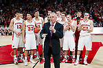 Wisconsin Badgers Head Coach Bo Ryan addresses the crowd after tying the all-time career wins as a UW Basketball coach after a Big Ten Conference NCAA college basketball game against the Illinois Fighting Illini on Sunday, March 4, 2012 in Madison, Wisconsin. The Badgers won 70-56. (Photo by David Stluka)