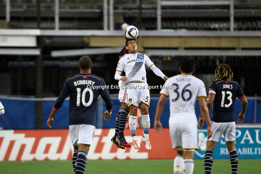 May 31, 2015 - Foxborough, Massachusetts, U.S. - Los Angeles Galaxy midfielder Jose Villarreal (5) heads the ball during the MLS game between Los Angeles Galaxy and the New England Revolution held at Gillette Stadium in Foxborough Massachusetts.    Eric Canha/CSM