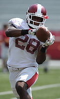 NWA Democrat-Gazette/ANDY SHUPE<br /> Arkansas defensive back Josh Liddell makes a catch Saturday, Aug. 5, 2017, prior to the start of a scrimmage in Razorback Stadium in Fayetteville. Visit nwadg.com/photos to see more photographs from the practice.