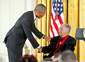 United States President Barack Obama presents the 2015 National Humanities Medal to Rudolfo Anaya, Author of Albuquerque, New Mexico, during a ceremony in the East Room of the White House in Washington, DC on Thursday, September 22, 2016.<br /> Credit: Ron Sachs / CNP