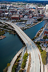 Providence, Rhode Island (RI), skyline in an aerial view.
