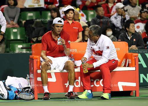 February 3, 2017, Tokyo, Japan - Japan's Taro Daniel (L) listens to team captain Minoru Ueda during the Davis Cup World Group First Round tennis match against France's Richard Gasquet in Tokyo on Friday, February 3, 2017. Gasquet defeated Daniel 6-2, 6-3, 6-2 at the opening game.    (Photo by Yoshio Tsunoda/AFLO) LWX -ytd-