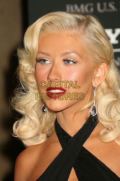 CHRISTINA AGUILERA.Clive Davis 2007 Pre-Grammy Awards Party at the Beverly Hilton Hotel, Beverly Hills, USA..February 10th, 2007.headshot portrait black halterneck red lipstick.CAP/ADM/BP.©Byron Purvis/AdMedia/Capital Pictures