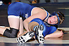 Kyle Mock of Huntington, left, looks to control Justin O'Neill of North Babylon at 132 pounds in the opening round of the Suffolk County varsity wrestling championship at North Babylon High School on Wednesday, Jan. 27, 2016. Mock won by decision 9-2 to help 13th seeded Huntington to a 34-33 upset over fourth seeded North Babylon.
