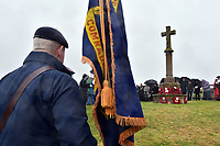 Pictured: Former members of the Armed Forces observe two minutes silence. Saturday 11 November 2017<br /> Re: Armistice Day, two minutes were observed to mark remembrance at Freshwater West beach, west Wales, UK.