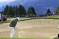 Tyrrell Hatton (ENG) plays his 2nd shot on the 17th hole during Sunday's Final Round of the 2017 Omega European Masters held at Golf Club Crans-Sur-Sierre, Crans Montana, Switzerland. 10th September 2017.<br /> Picture: Eoin Clarke | Golffile<br /> <br /> <br /> All photos usage must carry mandatory copyright credit (&copy; Golffile | Eoin Clarke)