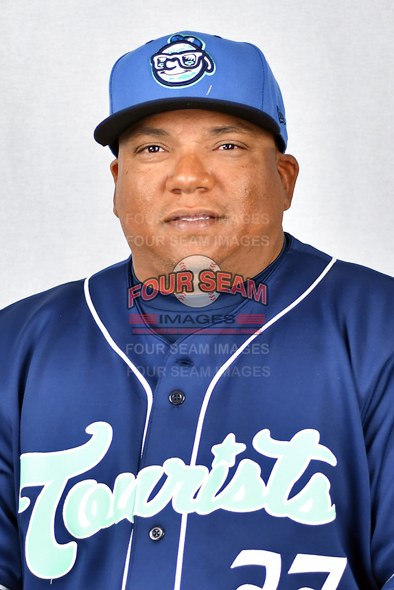 Asheville Tourists manager Robinson Cancel (37) during media day at McCormick Field on April 2, 2019 in Asheville, North Carolina. (Tony Farlow/Four Seam Images)