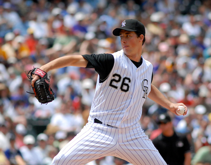 Colorado Rockies starting pitcher Jeff Francis works during an interleague game against the Minnesota Twins at Coors Field on May 18, 2008.