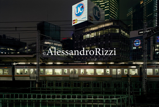 Frontal View on a train moving in Tokyo