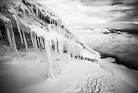 Black and white photo of Ice formations and icicles on Cotopaxi Volcano, Cotopaxi Province, Ecuador