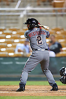Salt River Rafters Jamie Westbrook (2), of the Arizona Diamondbacks organization, during a game against the Glendale Desert Dogs on October 19, 2016 at Camelback Ranch in Glendale, Arizona.  Salt River defeated Glendale 4-2.  (Mike Janes/Four Seam Images)