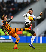 9th February 2019, Pride Park, Derby, England; EFL Championship football, Derby Country versus Hull City; Tom Huddlestone of Derby County beats Jackson Irvine of Hull City to the high ball