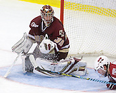 Parker Milner (BC - 35), David Valek (Harvard - 22) - The Boston College Eagles defeated the Harvard University Crimson 3-2 on Wednesday, December 9, 2009, at Bright Hockey Center in Cambridge, Massachusetts.