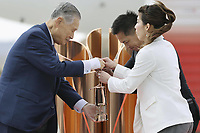 20th March 2020, Miyagi, Tohoku Region, Japan, Olympic gold medalists Tadahiro Nomura and Saori Yoshida hand over the flame to President of Tokyo Organizing Committee of the Olympic and Paralympic Games Tokyo 2020 Yoshiro Mori during the Olympic flame arrival ceremony in Miyagi of Japan, on March 20, 2020. The Olympic flame arrived in Japan on March 20.