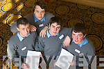 Cathal Power, Andrey  Belyakov, Ryan O'Brien and Joshua Kelly from the Green School, Tralee, pictured at Ceiliuradh na nOg at the Brandon hotel on Thursday.