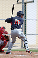 Minnesota Twins outfielder Oswaldo Arcia #16 during an Instructional League game against the Boston Red Sox at Red Sox Minor League Training Complex in Fort Myers, Florida;  October 3, 2011.  (Mike Janes/Four Seam Images)