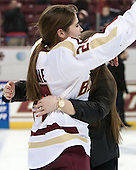 Meagan Mangene (BC - 24), Amanda Movsessian (BC - 12) - The Boston College Eagles celebrate winning the 2014 Beanpot championship on Tuesday, February 11, 2014, at Kelley Rink in Conte Forum in Chestnut Hill, Massachusetts.