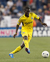 Columbus Crew midfielder Tony Tchani (6) passes the ball. In a Major League Soccer (MLS) match, the New England Revolution tied the Columbus Crew, 0-0, at Gillette Stadium on June 16, 2012.