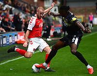Fleetwood Town's Paddy Madden competes with Shrewsbury Town's Omar Beckles<br /> <br /> Photographer Richard Martin-Roberts/CameraSport<br /> <br /> The EFL Sky Bet League One - Fleetwood Town v Shrewsbury Town - Saturday 13th October 2018 - Highbury Stadium - Fleetwood<br /> <br /> World Copyright &not;&copy; 2018 CameraSport. All rights reserved. 43 Linden Ave. Countesthorpe. Leicester. England. LE8 5PG - Tel: +44 (0) 116 277 4147 - admin@camerasport.com - www.camerasport.com