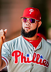 23 August 2018: Philadelphia Phillies pitcher Luis Garcia stands in the dugout prior to a game against the Washington Nationals at Nationals Park in Washington, DC. The Phillies shut out the Nationals 2-0 to take the 3rd game of their 3-game mid-week divisional series. Mandatory Credit: Ed Wolfstein Photo *** RAW (NEF) Image File Available ***