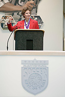 Hall of Fame inductee Michelle Akers gives her acceptance speech at the 2004 National Soccer Hall of Fame Induction Ceremony on Monday October 11, 2004 at the National Soccer Hall of Fame and Museum, Oneonta, NY..