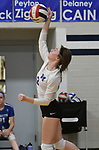 Marquette's Delaney Cain serves. Jerseyville played at Alton Marquette in a girls volleyball game on Wednesday September 11, 2018.<br /> Tim Vizer/Special to STLhighschoolsports.com