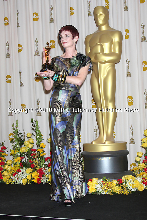 Costume designer Sandy Powell, winner of Best Costume Design award for 'The Young Victoria,.in the Press Room of the 82nd Academy Awards.Kodak Theater.Los Angeles, CA.March 7, 2010.©2010 Kathy Hutchins / Hutchins Photo....