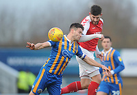 Fleetwood Town's Ched Evans vies for possession with Shrewsbury Town's Matthew Sadler<br /> <br /> Photographer Kevin Barnes/CameraSport<br /> <br /> The EFL Sky Bet League One - Shrewsbury Town v Fleetwood Town - Tuesday 1st January 2019 - New Meadow - Shrewsbury<br /> <br /> World Copyright © 2019 CameraSport. All rights reserved. 43 Linden Ave. Countesthorpe. Leicester. England. LE8 5PG - Tel: +44 (0) 116 277 4147 - admin@camerasport.com - www.camerasport.com