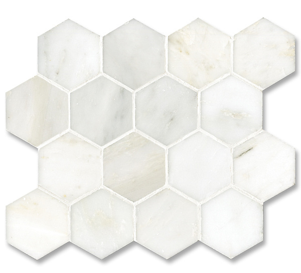 7cm Hex shown in honed Calacatta Radiance, is part of New Ravenna's Studio Line of ready to ship mosaics.
