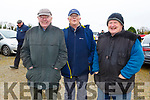 Seamus Roche and Buddy O'Grady from Tralee with James Morrisey at the Castleisland Coursing meeting on Monday.